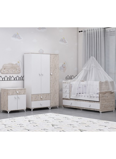 Garaj Home Garaj Home Melina Damla Bebek Odası Takımı Yatak Ve Uyku Seti Kombinli/ Uyku Seti Beyaz Beyaz